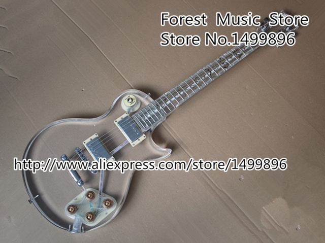 Cheap New Arrival Acrylic Plexiglass LP China Guitar Electric Clear Guitar Body PUC Style Pickup Lefty Custom Available