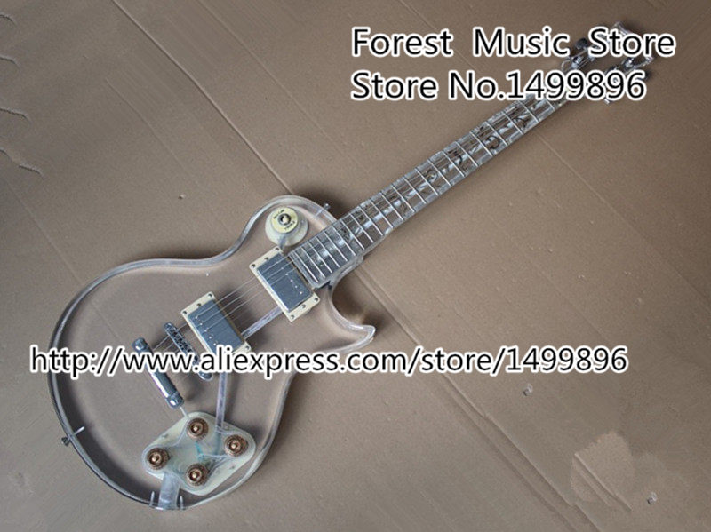 New Arrival Acrylic Plexiglass LP China Guitar Electric Clear Guitar Body PUC Style Pickup Lefty Custom Available custom shop reddish brown matte satin finish 22 frets lp custom electric guitar 2014 new model china oem guitar lefty available