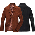 Brown Black Casual Business Brand Autumn Winter Male Dress Suit Jacket Corduroy Blazer Men Slim Fit With Elbow