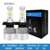 Оптовая продажа S2 H4 H7 светодиодный Автомобильные фары H1 H3 H8 H9 H11 9005 9006 9007 9008 HB5 HB3 HB4 лампа для авто светодиодный свет лампы 12 V 72 W фары для 6500 K