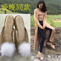 2016 Winter New Arrival Slippers Vacation Women Cozy Fur Flats Peep Toe Outdoor Flip Flops Pom Pom Real Wool Winter Shoes Women
