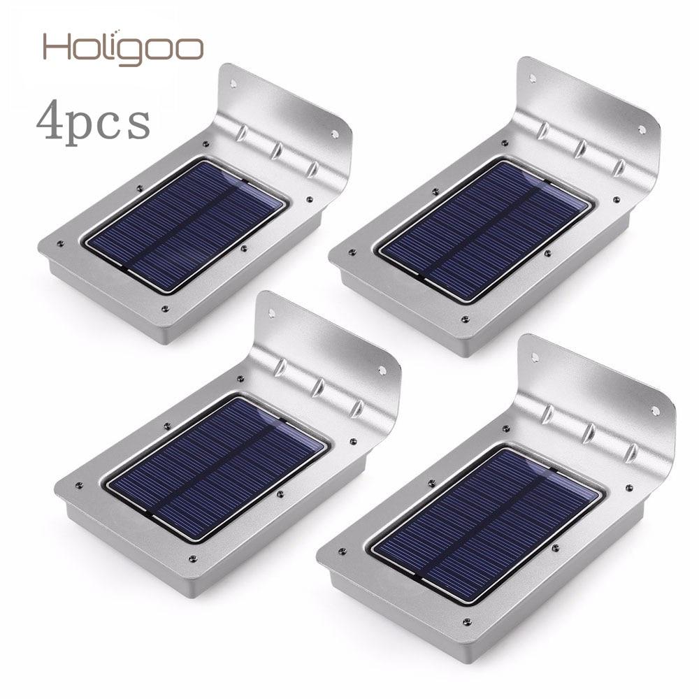 Holigoo 4 шт. светодиодный солнечный свет 16 светодиодный открытый Беспроводной солнечные Сенсор солнечный светильник/Бра/безопасности огни/сад свет