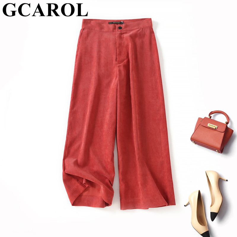 GCAROL 2019 Early Spring Summer Women Corduroy   Wide     Leg     Pants   Streetwear Vintage Calf Length   Pants   OL Work Elegant Trousers