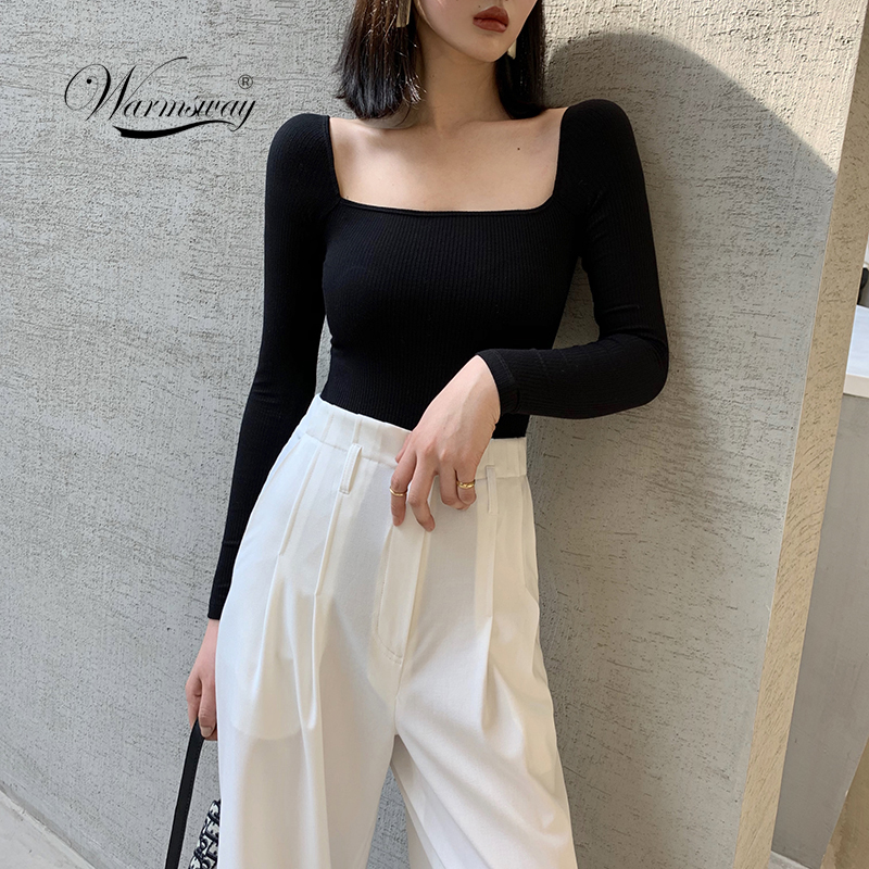 Black Office Lady Elegant Scoop Neck Long Sleeve Solid Mercerized Cotton Pullovers Tee 2020 Casual Women T-shirt And Top B-076
