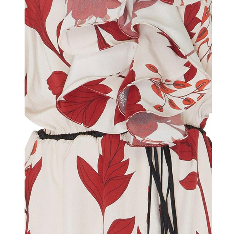 Soie Robe Printemps De Mince Longues 2019 Nouvelle Volants Longue Imprimé Manches Cravate Femmes À Féminine Mousseline Multi shtdrQC