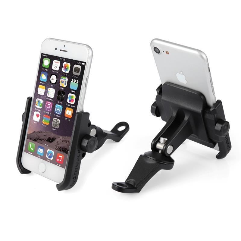 Motorcycle Bicycle Metal Rearview Mirror Aluminium Alloy Phone Holder for iphoneX Xs XR Xs Max 360 Degrees Rotation Phone Holder
