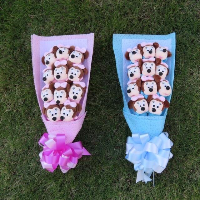 Macio bonito rato Bonito com Coisas de sabão flores bouquets dos desenhos animados Animais Brinquedos De Pelúcia Criativo Valentim/Presente Da Graduação