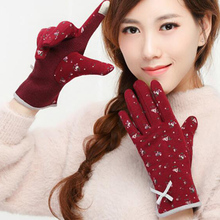 Gloves Ladies Winter Thin Section Plus Velvet Thick Warm Spring Autumn Driving Non-Slip Student  Of Cute TBWM03