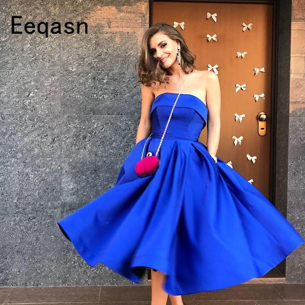 New Elegant Blue Modern Zipper Back Vestido Coctel A Line Cocktail Dress 2019 Strapless A-Line Party Homecoming Dresses