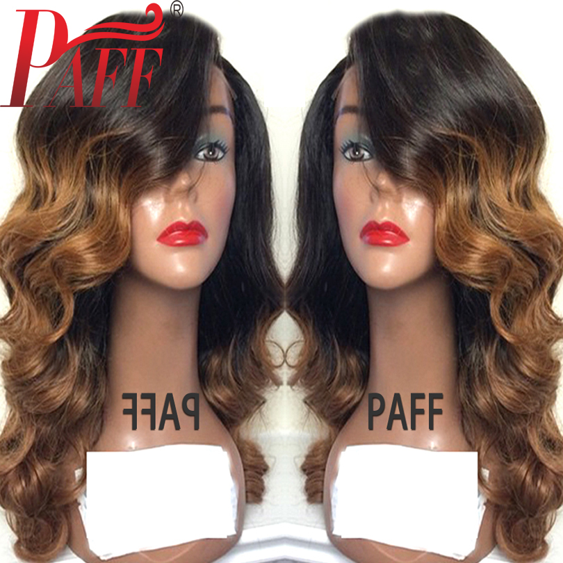 36C Ombre Full Lace Human Hair Wig 150% Density #1BT30 Brazilian Glueless Remy Hair Wig Baby Hair Side Part Bleached Knots