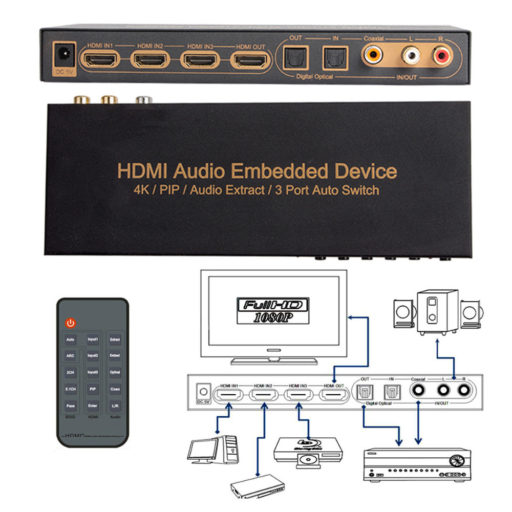 HDMI 3X1 Switcher Audio Embed + Audio Extract Support 4k 1080P ARC PIP AC3 5.1CH