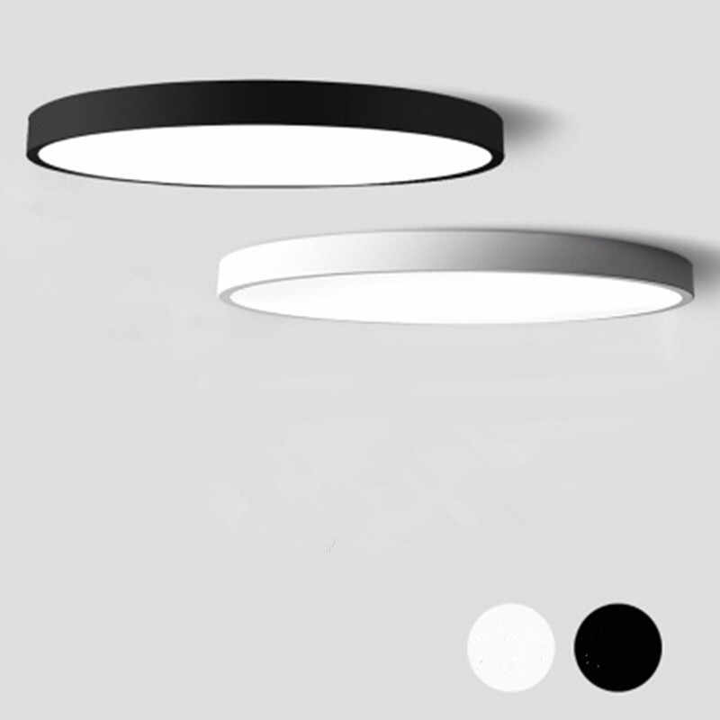Black White Modern Led Chandelier Acrylic Round Chandeliers Ceiling For Living Room Bed Room Kitchen Ultra thin Lighting Fixture