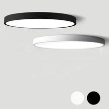 Czarny biały nowoczesny LED żyrandol akrylowe okrągłe żyrandole sufit do salonu Pokój Kuchnia Ultra cienka oprawa oświetleniowa tanie tanio Żyrandole Nowoczesne Żelaza 90-260v 120V 110V 220V 110-240V Klina CCC RoHS CE 5cm LED żyrandol w ciągu 1 roku