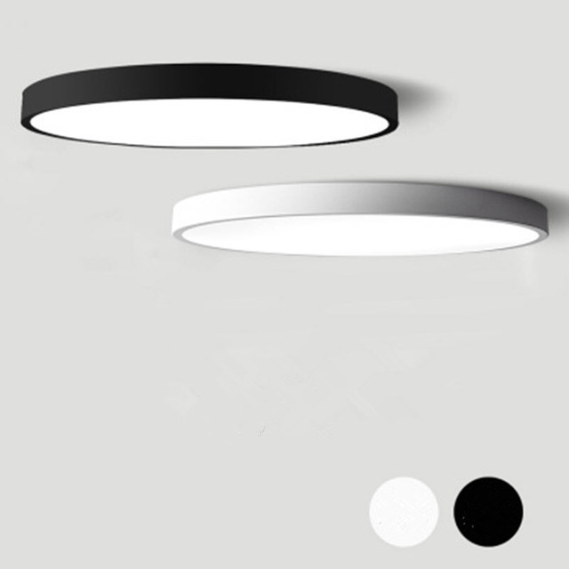 Lustre moderne à Led, noir et blanc, plafonnier rond en acrylique pour le salon, la chambre à coucher, la cuisine, éclairage ultra mince
