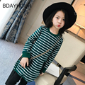 Thread Round Neck Long Sleeves White Stripes Long Girl  Leisure T-Shirts 2017 Spring New Cotton Girl Stripes T-Shirts 5-15years