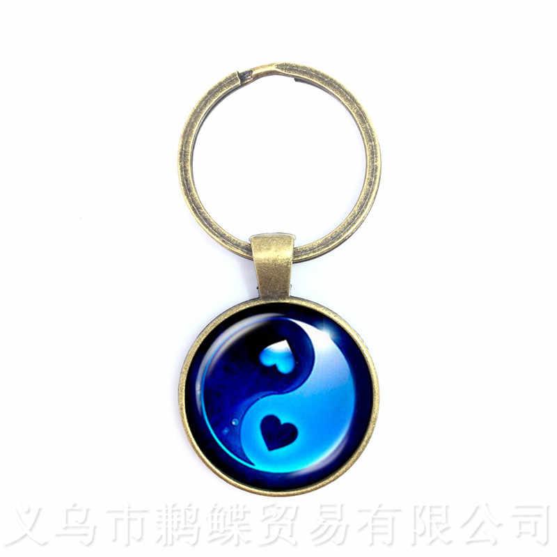 จีนลัทธิเต๋าป้ายโบราณแปดแผนภาพ Chakra พวงกุญแจ Yin Yang จี้ Tao TAIJI Statement พวงกุญแจ