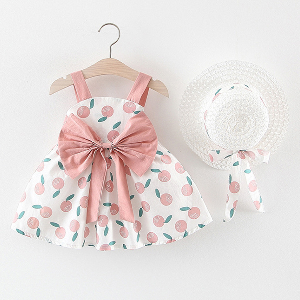Summer New Fashion Infant Baby Girl Sleeveless Orange Print Princess Backless Cute Dress+Hat Cap Outfits Wholesale Free Ship Z4