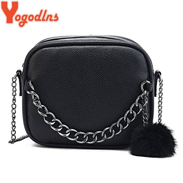 Yogodlns nueva moda de cuero suave para mujer bolsos de embrague cadena bolso de hombro Bolso de piel Casual bola decoración bolsos bandolera