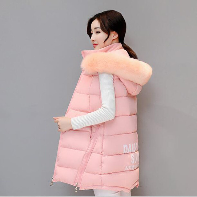 a79d55b37bee8 2018 big fur color hooded women vest plus size 3XL 4XL cotton padded long  womens waistcoat outerwear colete feminino AC210