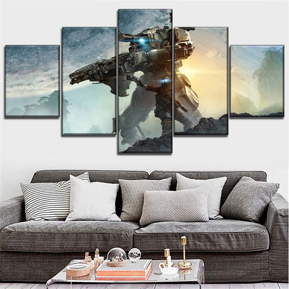 Modern Artwork 5 Pieces HD Printed Sci Fi Game Titanfall 2 Poster Wall Art Picture Decoration Living Room Canvas Painting in Painting Calligraphy from Home Garden