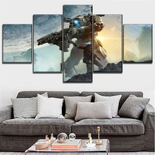 Modern Artwork 5 Pieces HD Printed Sci Fi Game Titanfall 2  Poster  Wall Art Picture Decoration Living Room Canvas Painting titanfall 2