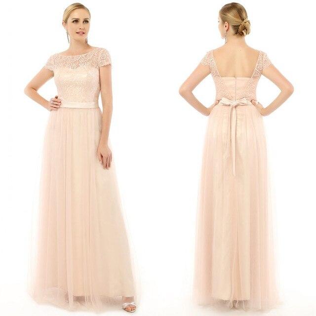 d085f27c41 2016 Verano Elegante Champagne Dama de Honor Vestidos Largos Vestidos para  Invitados De Boda de Encaje