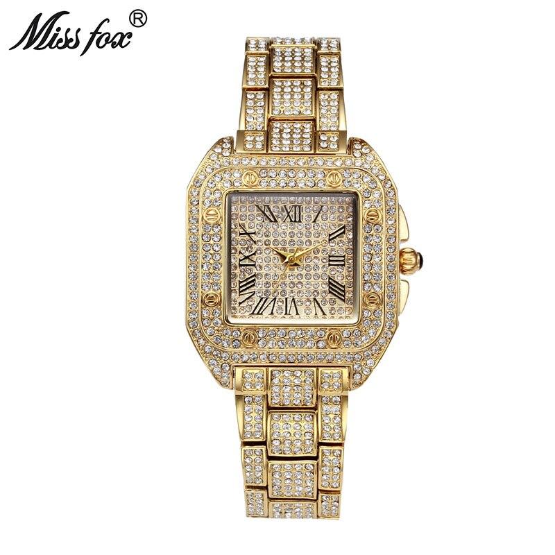 Missfox senhoras relógios de pulso relógio de moda feminina 2019 marca casual quadrado carter relógios femininos à prova dwaterproof água relógio de quartzo feminino