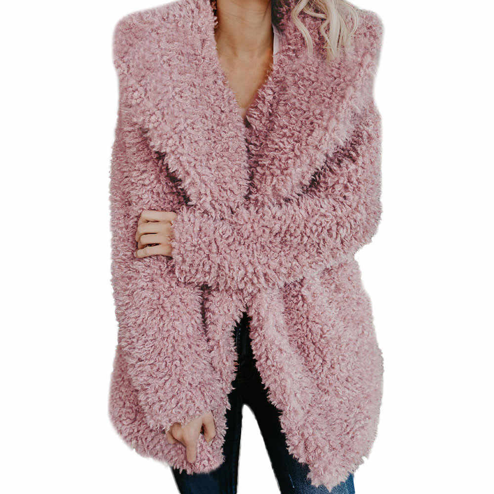 Womens Ladies Warm Artificial Wool Coat  Jacket Lapel Winter Outerwear NEW Women Tops Coats Jacket  Autumn Winter Fashion Fur