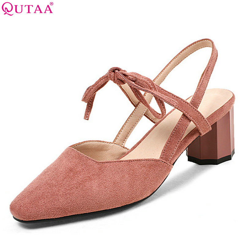 QUTAA 2018 Women Pumps Flock Fashion Women Shoes Platform Square High Heel Casual Cross-tied Square Toe Ladies Pumps Size 34-43 newest solid flock high heel pumps woman
