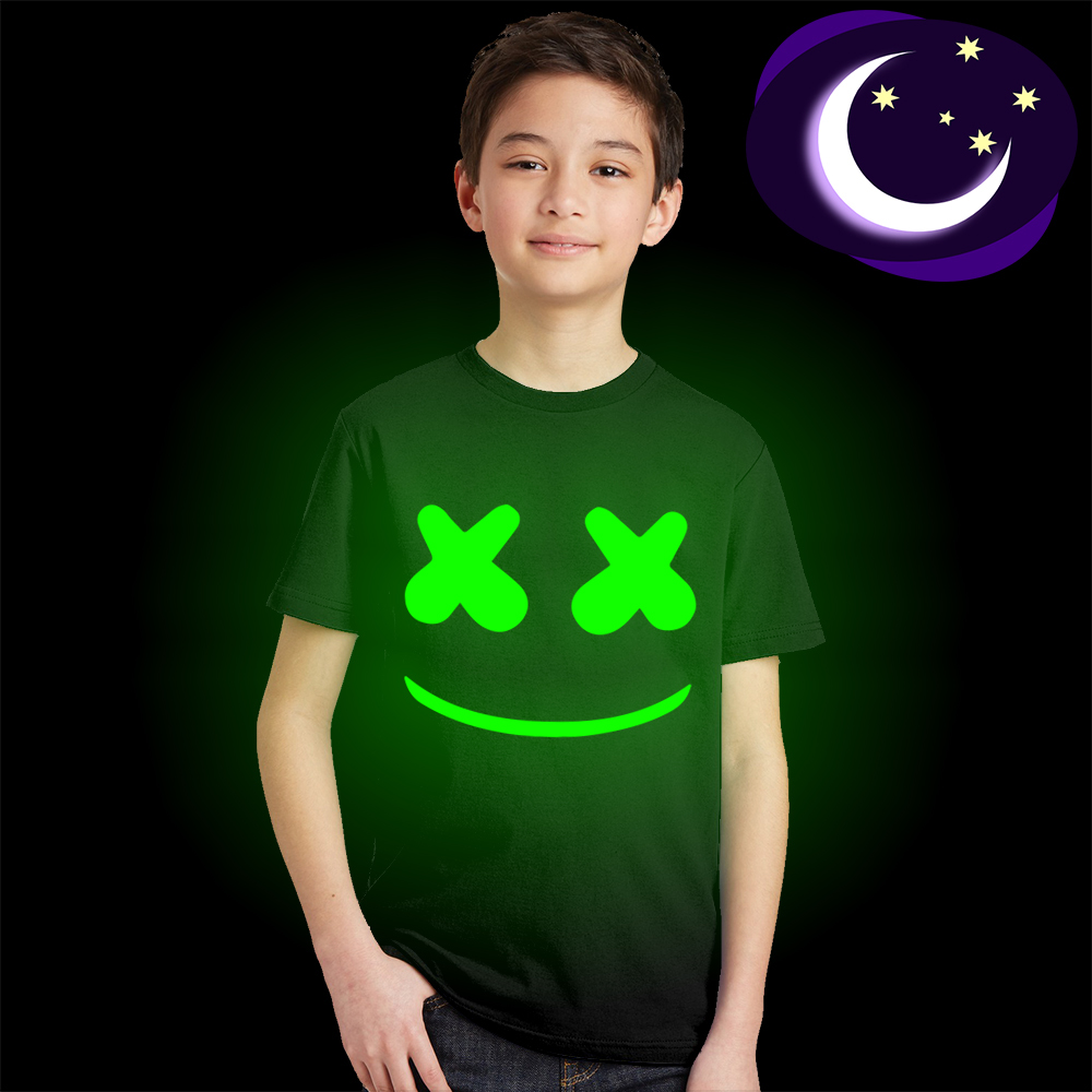 boy girl t-shirt 3 4 5 6 7 8 9 10 yrs Marshmello emoji Glow In Dark kids t shirt casual summer style Luminous children clothing футболка для девочки t shirt 2015 t t 2 6 girl t shirt