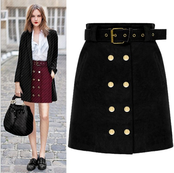 Women Suede Pencil Mini Skirt Belt Button High Waist Elegant Work Wear Pocket High Street Casual Autumn Bodycon Girl Short Skirt
