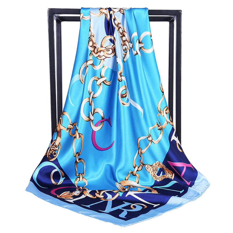 Luxury Brand Women Twill Silk   Scarf   Letter Chain Print Square   Scarves     Wraps   Fashion Hijab Headband