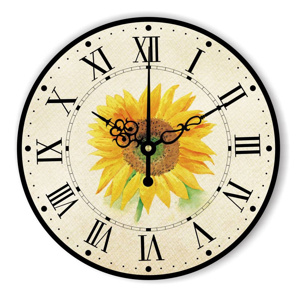 Beautiful Sun Flower Large Decorative Wall Clock For Bedroom Living ...