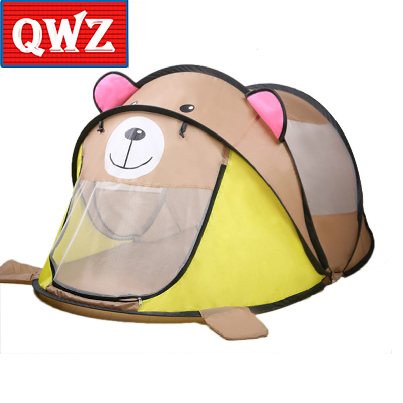 QWZ Cartoon Animal Toy Tents Children House Kids For Tent Indoor Outdoor Play Tent Folding Baby Tent Cute Little Tiger Ball Pool