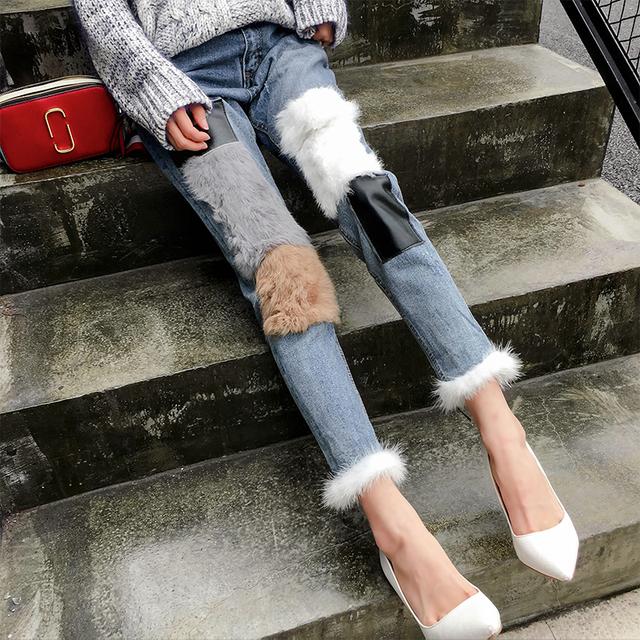 Nova Pele De Couro Split Harem Calça Jeans Moda Feminina Único Magro Tornozelo Comprimento Calças Moda Jeans Macio Denim De Alta qualidade Coelho