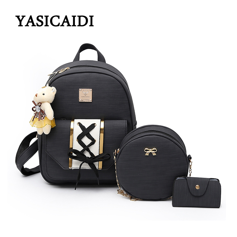 2018 Fahion bear 3 Pcs/Set Women Backpack Female Cute Bow Backpacks For Girls SchoolBag Tassel Backpack Hot Leather Ribbons Bag hot fashion design personality little bear women backpacks cute character shapes cartoon girls schoolbag casual shoulder bag