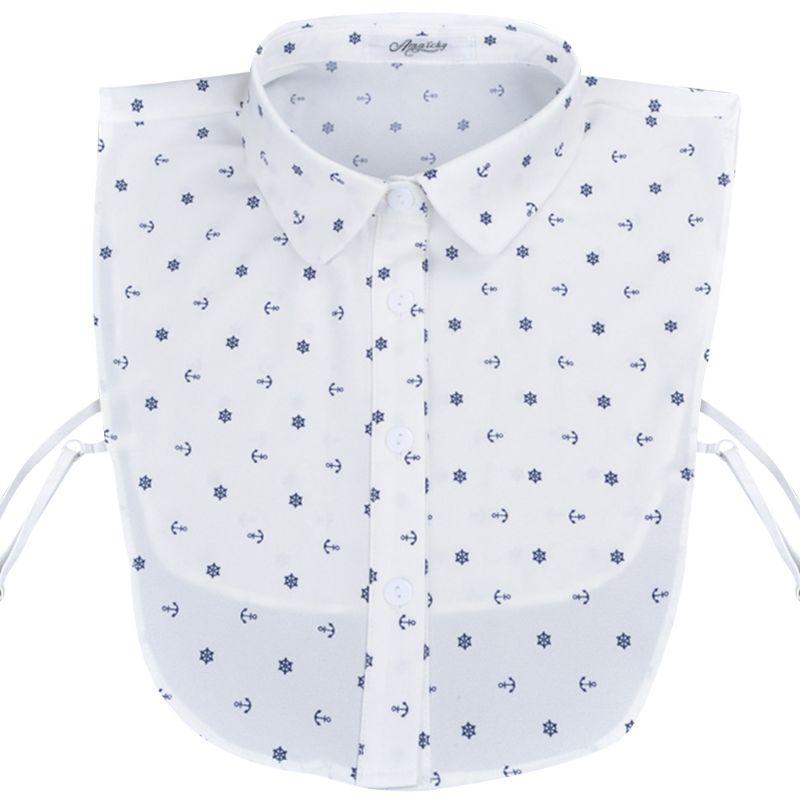 Women Blouse Sweater Vest Navy Style Fake False Collar Detachable Rudder Printed Cotton Half Shirt Tie Apparel Adjustable