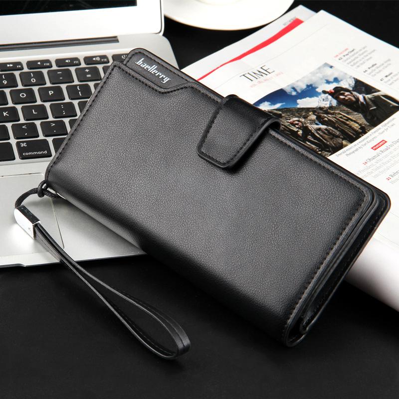 Top Quality leather long wallet men zipper wallets men women money bag pocket mltifunction brown one size 6