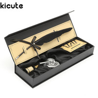 Kicute Vintage Black Swan Feather Quill Metal Dip Pen Set With 5 Nips Writing Ink Set