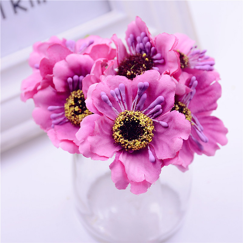 6pcs 3.5cm mini silk cherry artificial poppy bouquet DIY handmade tattoo wreath scrapbook wedding decoration craft fake flower(China)