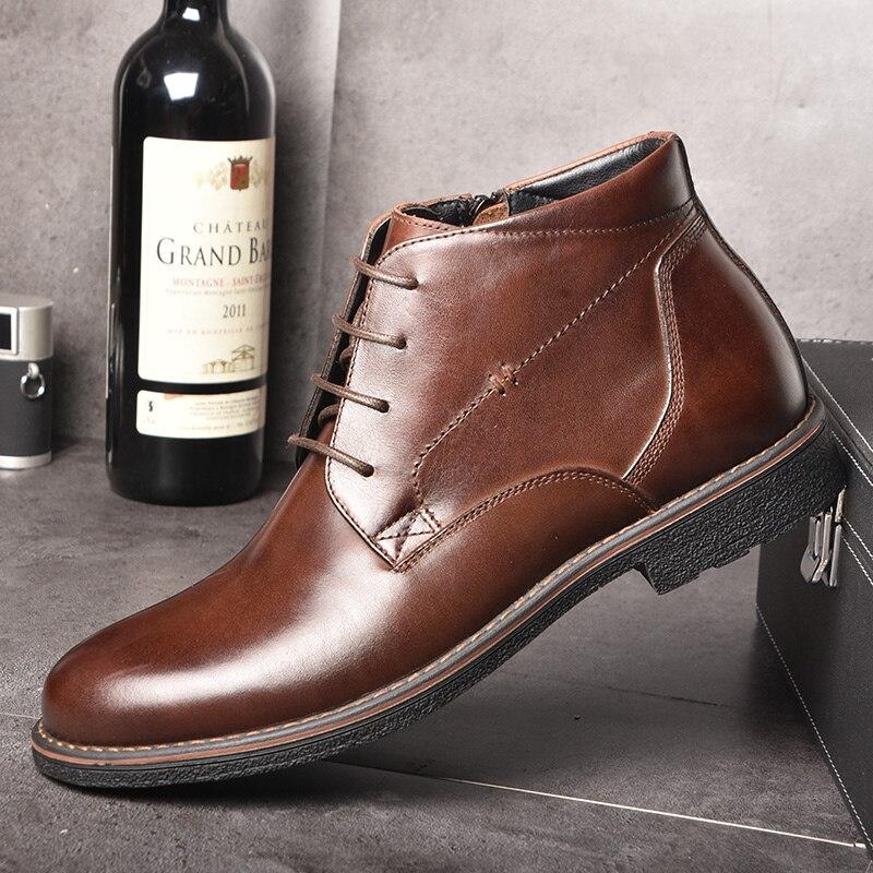 OSCO Véritable En Cuir Hommes Bottes Automne Hiver Cheville Bottes De Mode Chaussures à Lacets Chaussures Hommes D'affaires Casual High Top Hommes chaussures