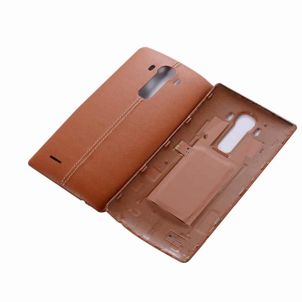 Orijinal gerçek deri arka pil kapağı konut kapı için G4 pil kapağı tüm sürüm NFC ile (destek kablosuz şarj