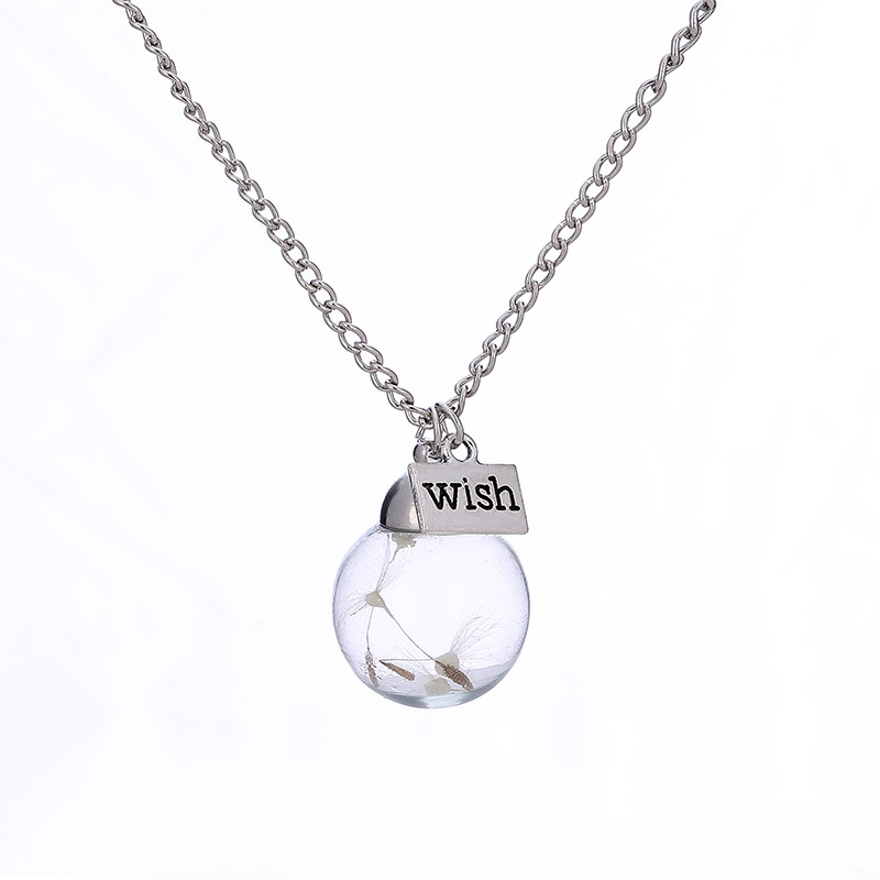 OTOKY 2018 Hot Sale 1pc Crystal Ball Wish Noctilucence Dandelion Dried Flower Pendant Necklace Dropshipping Apr12
