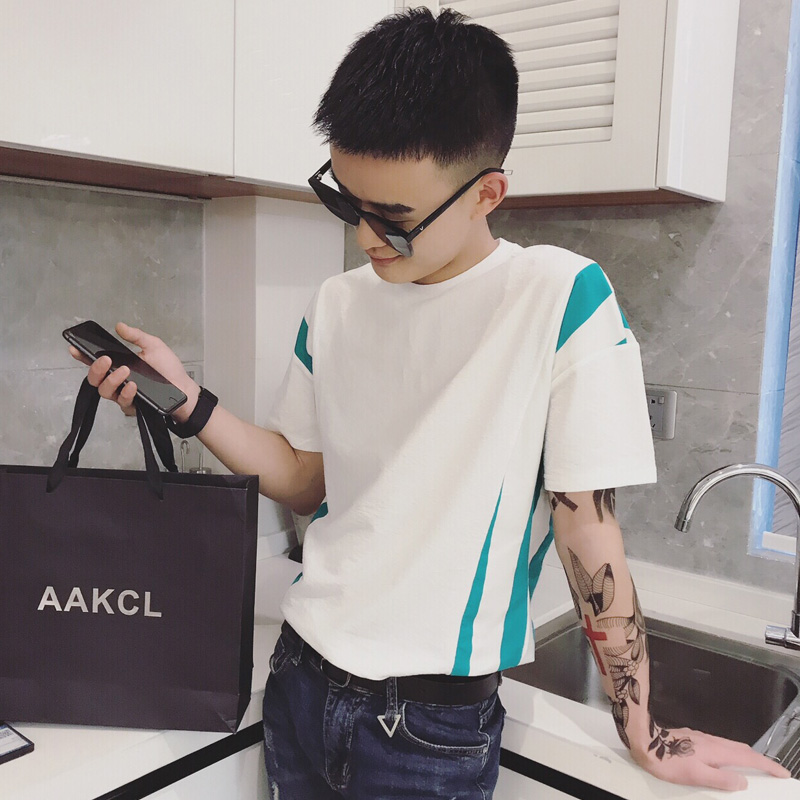 Men 39 s short sleeved T shirt trend handsome casual half sleeved men 2019 summer new wild hit color round neck print T shirt in T Shirts from Men 39 s Clothing