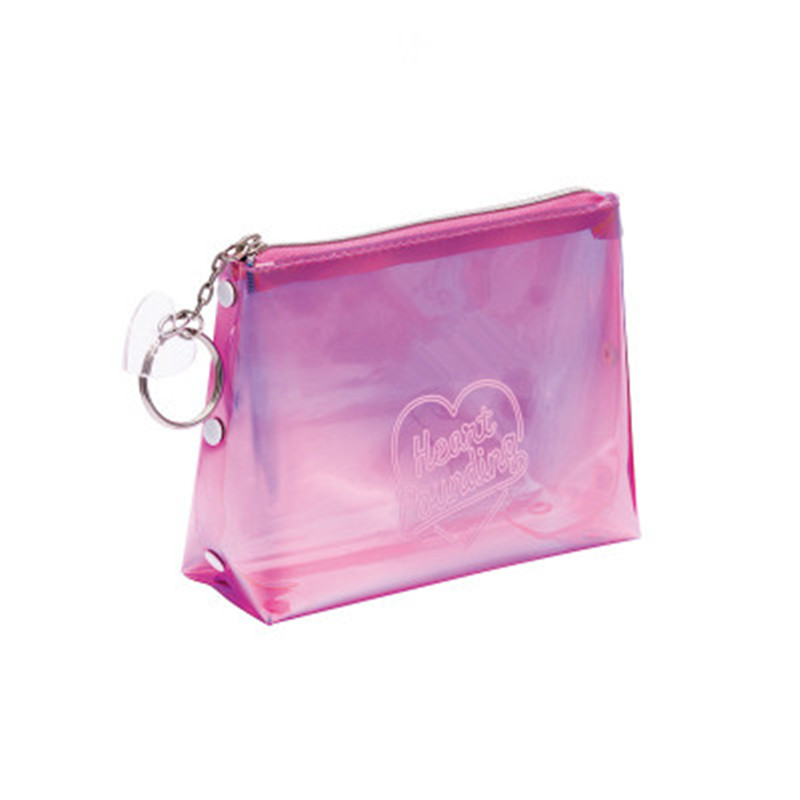 Women Portable Letter Print Laser Transparent PVC Cosmetic Bag Travel Storage Pouch Makeup Bags 1