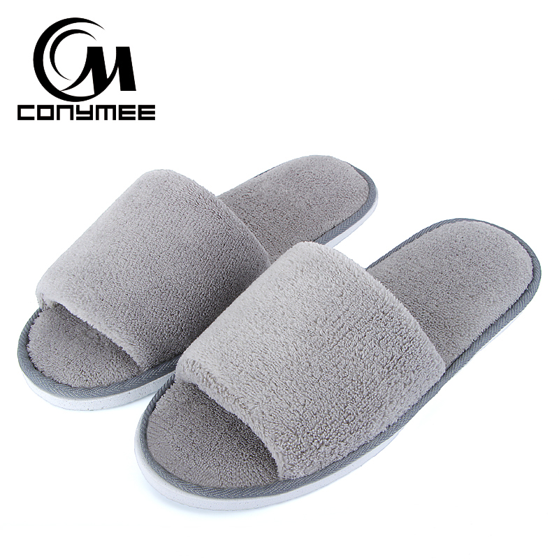 CONYMEE Slippers Woman House Soft Floor Shoes Pantufas Men Women Coral Velvet Warm Sneakers Winter Plush Indoor Home Slipper starfish conch coral velvet floor area rug