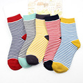 New Fashion Women cotton Socks Autumn and Winter Lovely Candy Color Striped Printting Floor length sock for Ladies girls