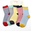 Nueva Moda de Las Mujeres Calcetines de algodón de Otoño e Invierno de Color Caramelo Precioso A Rayas Printting Piso-longitud calcetín para Las Señoras de las muchachas