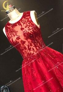 Image 4 - JIALINZEYI Immagine Reale Più Nuovo Vino Rosso Perline di Cristallo di Lunghezza Della Caviglia Una Linea di Abiti da ballo Vestiti Da Partito 2019