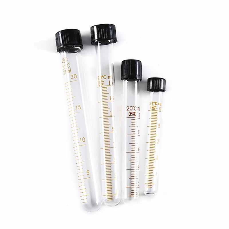 1 stück 5 ml/10 ml/15 ml/20 ml Absolvierte Glas Test Rohre Mit Schwarz Schraube cap Schule Pädagogisches Labor Liefert